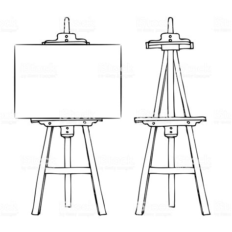 wooden easel  canvas stock vector art  images