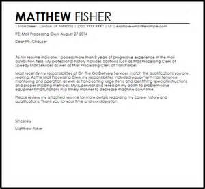 mailroom clerk resume cover letter mail processing clerk cover letter sle livecareer