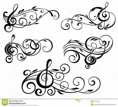 Notes Ornamental Swirls Note Clip Leaves Musical