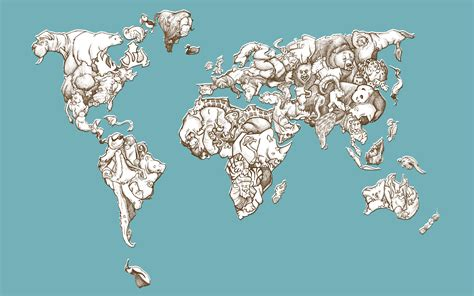 Animal Map Of The World Wallpaper - animals maps world map wallpapers