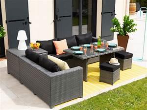 Salon De Jardin Canapé D Angle : salon de jardin 7 places canap d 39 angle 2 poufs ~ Teatrodelosmanantiales.com Idées de Décoration