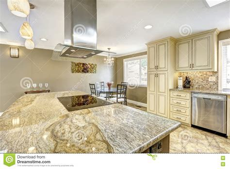 Luxury Kitchen Interior In Light Beige Color Stock Photo