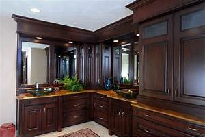Dark, Stained, Cherry, Cabinets, In, Master, Bathroom