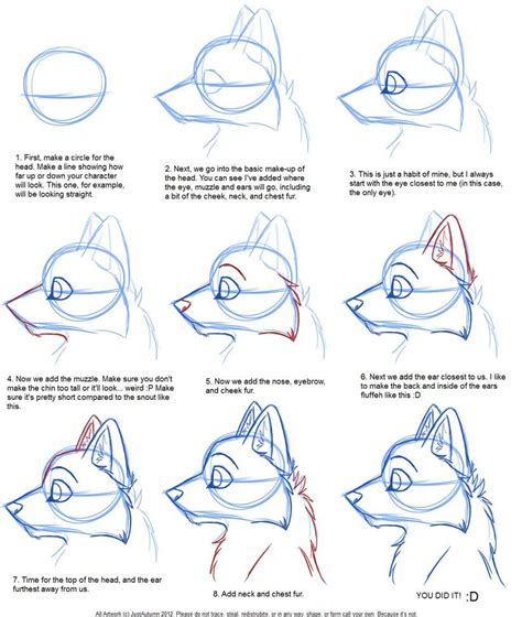 draw canine profile tutorial  justautumn