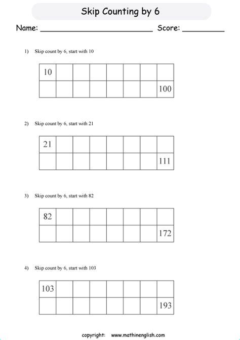 skip count   math addition  numeracy worksheet