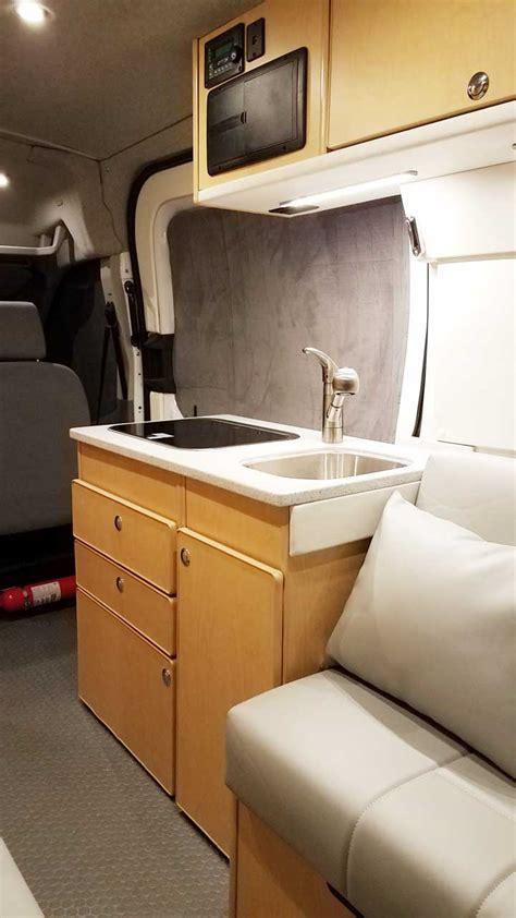 ford transit camper van conversion rear dinette bath storage