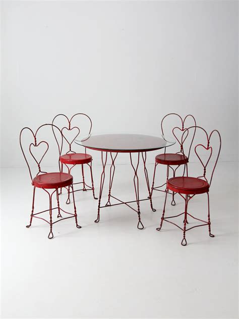 ice cream parlor table vintage ice cream parlor table set with 4 chairs red outdoor