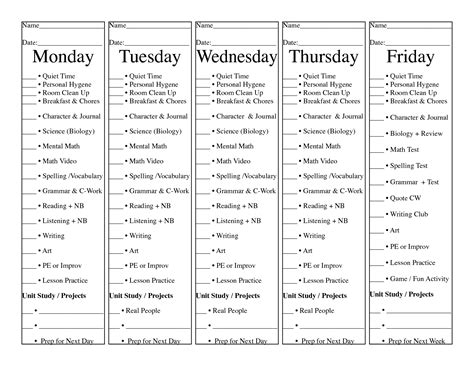 Homeschool Checklist Template by Homeschool Daily Check List 5 Days On 1 Sheet Of Paper