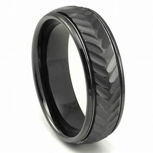Black tungsten carbide 8mm chevron newport wedding band ring for Carbide tungsten wedding rings