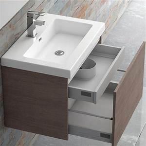 Meuble Tiroir Salle De Bain : meuble salle de bain 70 cm plan vasque r sine 1 tiroir modul 39 air ~ Teatrodelosmanantiales.com Idées de Décoration