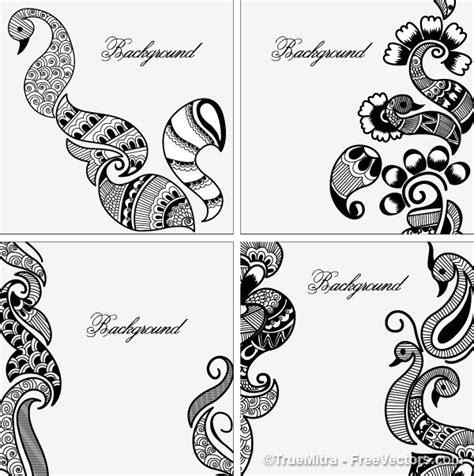 henna designs backgrounds vector set vector free