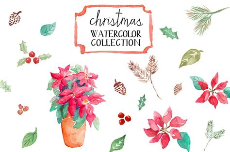 watercolor christmas illustrations creative market