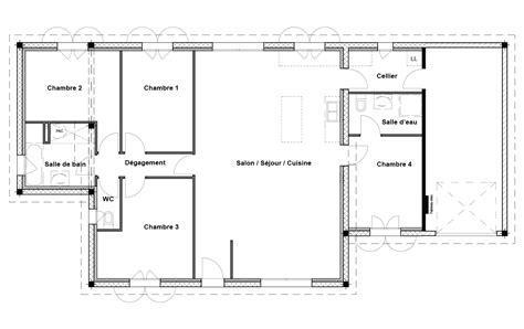 plan de maison plain pied 4 chambres avec garage maison plain pied 4 chambres maison moderne