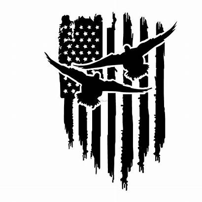 Duck Decal Flag Hunting Decals Sticker 1238