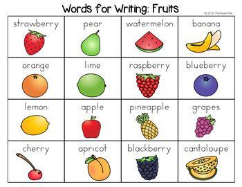 fruits word list writing center   kinder kids tpt