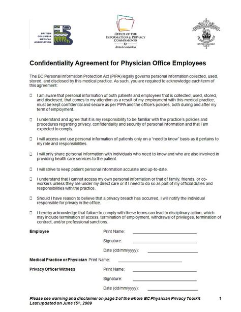 medical confidentiality agreement examples