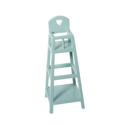 chaise haute bois bébé maileg mini chaise haute en bois bleu