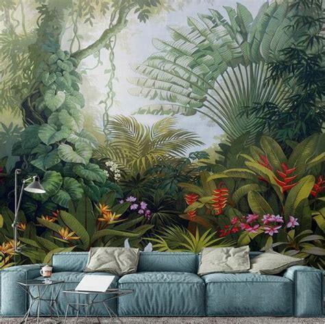 custom mural wallpapers european style retro tropical rain