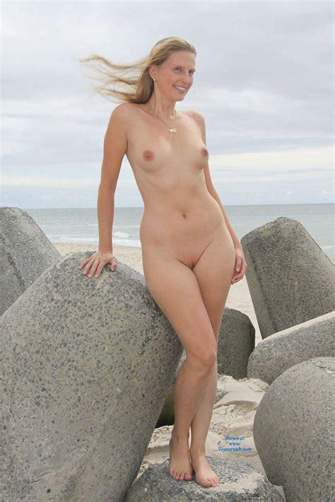 Smiling Blonde At The Beach July Voyeur Web Hall