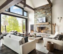 Whitefish Residence Sage Interior Design Homeadore Rustic Interior Design For The Living Room
