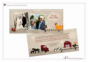 Faire Part Anniversaire 50 Ans : 50 ans de mariage faire part champ tre cr ation de ~ Edinachiropracticcenter.com Idées de Décoration