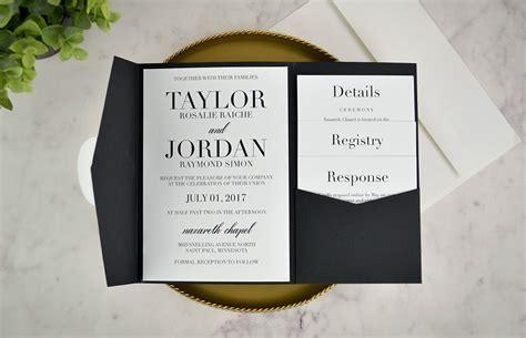 real diy wedding invitation classic black white pocket