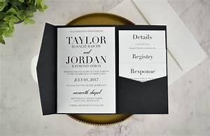 real diy wedding invitation classic black white pocket With diy wedding invitations amazon