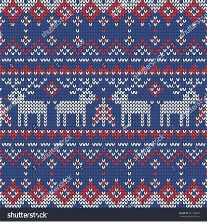 Trees Wrapping Paper Fir Knitting Deers Seamless