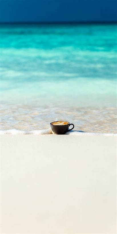 Cup Coffee Sea Minimal Waves Soft