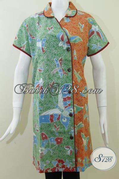 dress batik motif kupu model tabrak warna hijau  orange