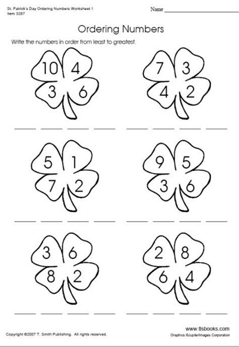 s day ordering numbers worksheet 1