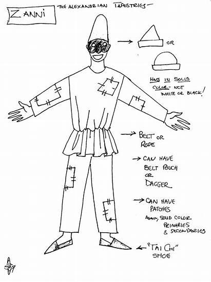 Arte Dell Commedia Drama Zanni Costume Servant