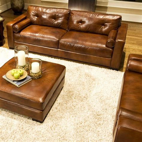 rustic brown leather sofa soho 4 piece rustic brown leather sofa set w oversized