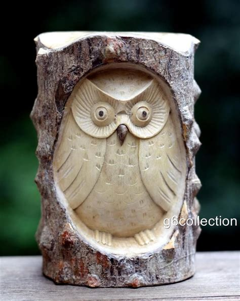 details  unique gift hand carved wooden owl statue
