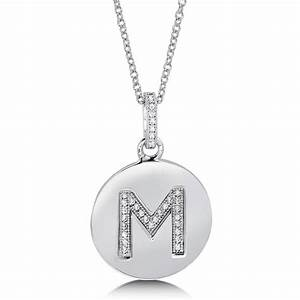 micro pave cubic zirconia sterling silver initial letter With sterling silver letter m pendant