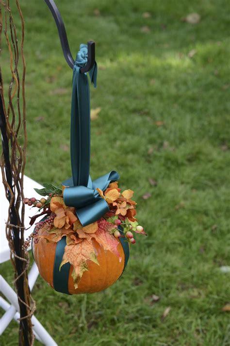 pumpkin hanging  shepherds hook  aisle fall