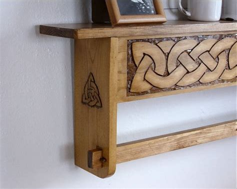 celtic knot design relief carved hanging quilt rack shelf celtic decor hanging quilts