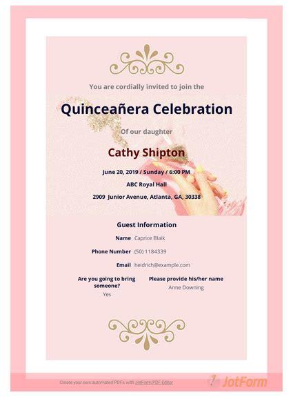Quinceañera Invitation TemplateTemplates JotForm