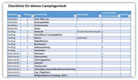 checkliste campingurlaub alle meine vorlagende