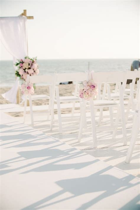 Malibu Beach Wedding In Pink And White Wedding Aisle