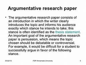 argumentative research essay topics