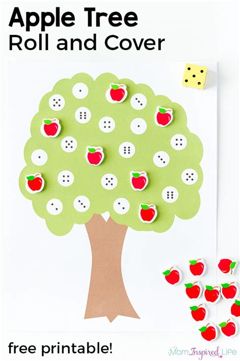 apple tree number matching activity 774 | Apple Tree Roll and Cover the Numbers Game Pin