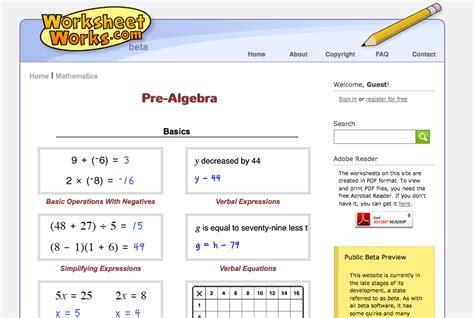 top 10 pre algebra worksheets student tutor