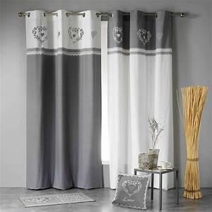 Rideau Gris Et Blanc : rideau tamisant 140 x h240 cm home love gris blanc ~ Dailycaller-alerts.com Idées de Décoration