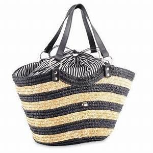 Sac En Paille Original : panier sac de plage sac paille de plage style cabas noir ~ Melissatoandfro.com Idées de Décoration