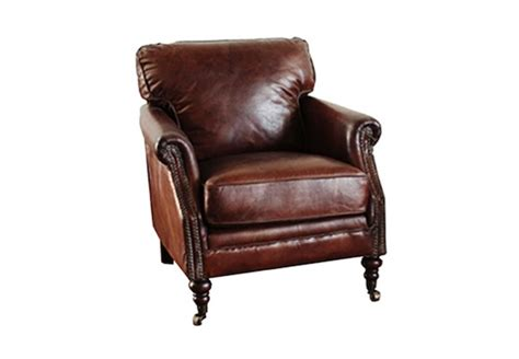 32 W Club Chair Armchair Top Grain Leather Vintage Cigar