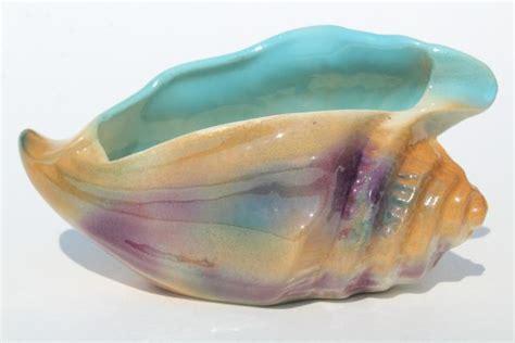 vintage ceramic seashell planter orange aqua lavender conch shell mid century retro
