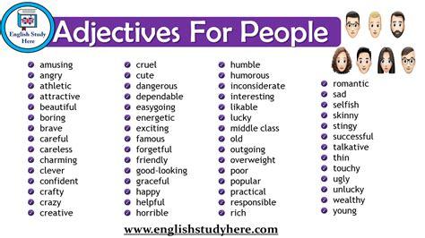 adjectives  people english vocabulary english study