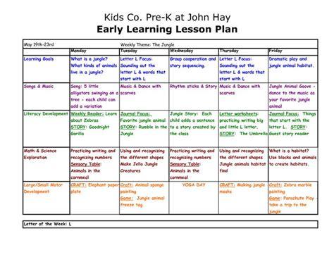 Preschool Lesson Plan Template  Copy Of Prek At John Hay
