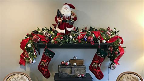 classic traditional christmas fireplace mantel